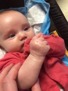 Kiira examins her hand